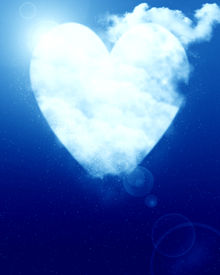 image of soulmate  - Heart shaped moon on a soft blue background - JPG