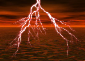 pic of lightning bolt  - a rendering of lightning over the water - JPG