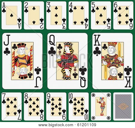 Playing cards club suit, joker and back. Faces double sized. Green background in a separate level in vector file