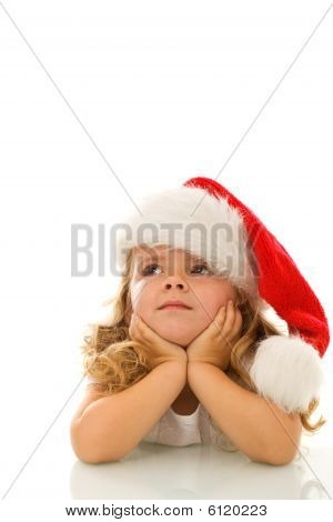 Little Girl Thinking About Christmas