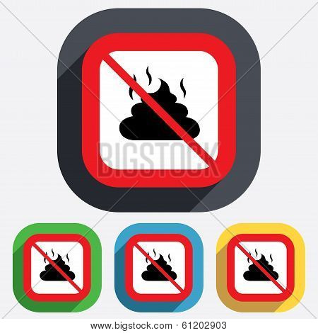 No Feces sign icon. Clean up after pets symbol.