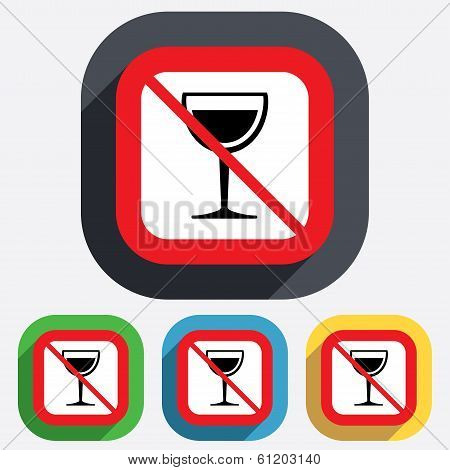 Wine glass sign icon. Do not drink Alcohol.