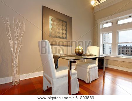 Elegant Dining Table Set In A Modern Living Room