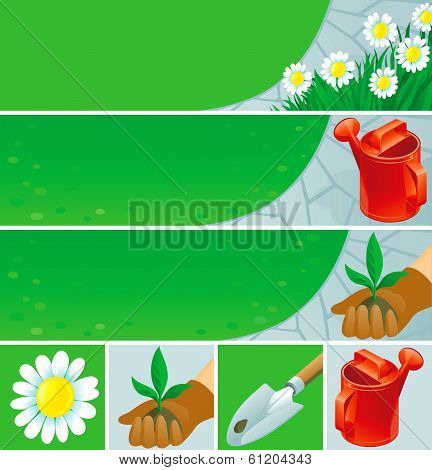 gardening  banners and icons