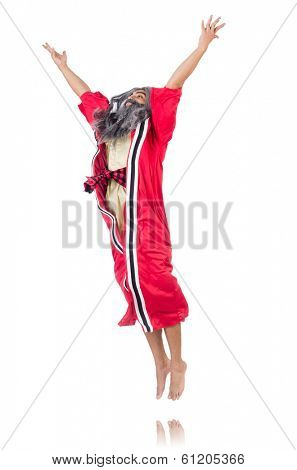 Jumping wizard isolated on white