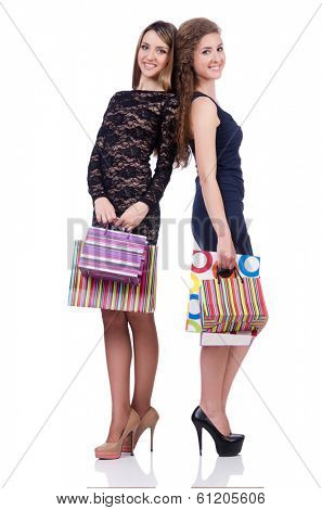 Best friends afte shopping on white