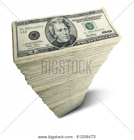 Stack of twenty-dollar bills on white background