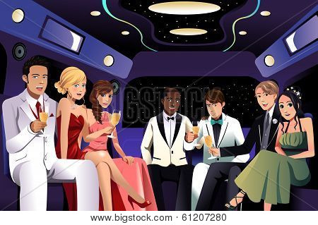 Teenagers Going To A Prom Party In A Limousine