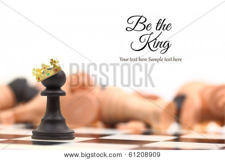 A pawn winner standing crowned as king with copy-space