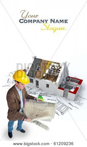 Architect , blueprints  house under construction and energy efficiency chart where there is an indication in French that this is a energy economic building and states the energetic efficiency levels