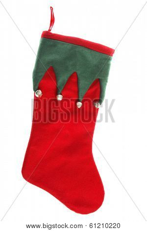 Red and green stocking with silver bells on white