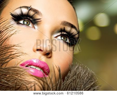Beautiful Woman With Bright Professional Make-up
