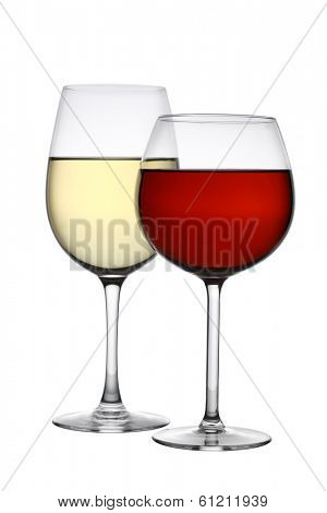 Glasses of red and white wine cutout, isolated on white background