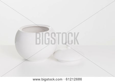 White Ceramic Sugar-bowl