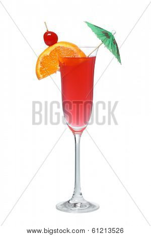 Tropical cocktail drink cutout, isolated on white background