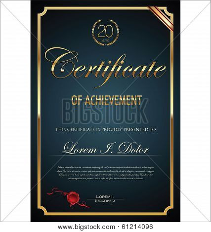 Illustration of gold detailed certificate