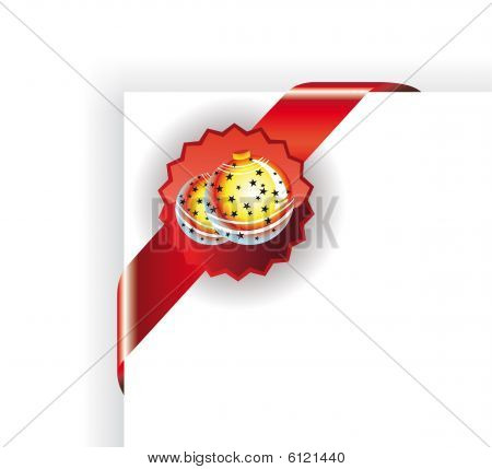 Corner Christmas Tag With Balls with high contrast colours