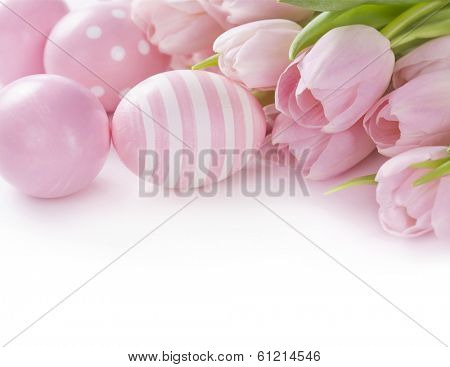 Pink easter eggs and tulips isolated on white background