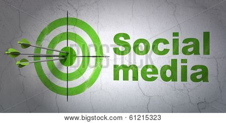 Social media concept: target and Social Media on wall background