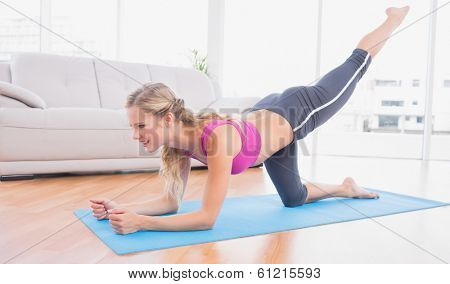 Toned blonde doing pilates on exercise mat at home in the living room