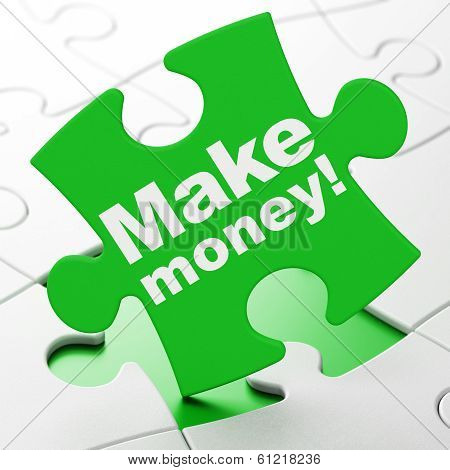 Finance concept: Make Money! on puzzle background