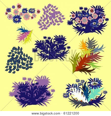 Set of vector design elements with leafs, herbariums.