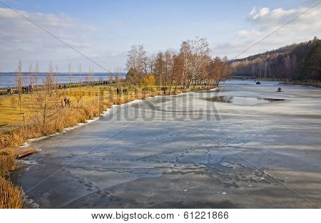 Winter View Of Lakes And Parks Near Kyiv Sea, Ukraine