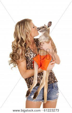 Woman Animal Print Shirt Kiss Kangaroo