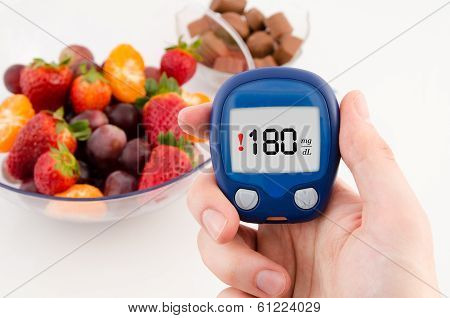 Hand Holding Meter With Warning Glucose Level Test. Fruits In Background