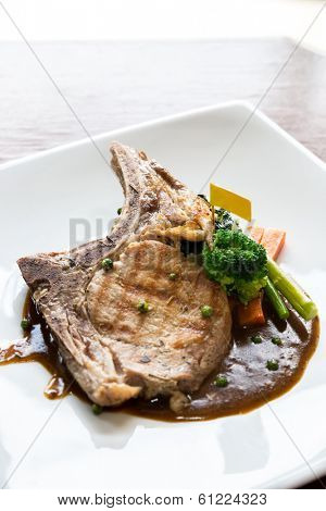 Gourmet Main Entree Course grilled pork chop