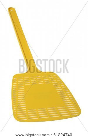 Yellow fly swatter on white
