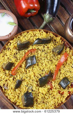 Eggplant Biryani - An Indian rice dish