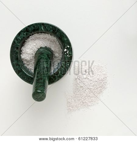 Mortar & Pestle with Pulverized Egg Shells