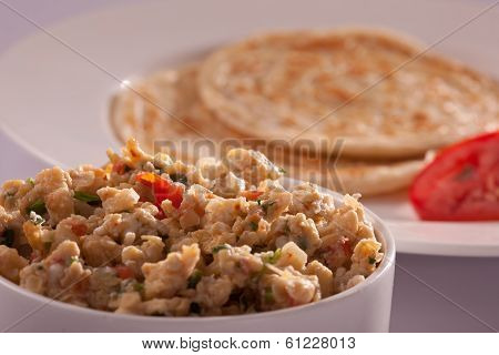 Egg bhurji with Paratha from India