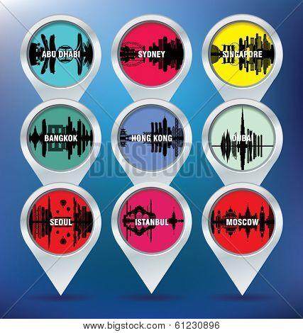 Map pins with Abu Dhabi, Sydney, Singapore, Bangkok, Hong Kong, Dubai, Seoul, Istambul and Moscow - vector illustration