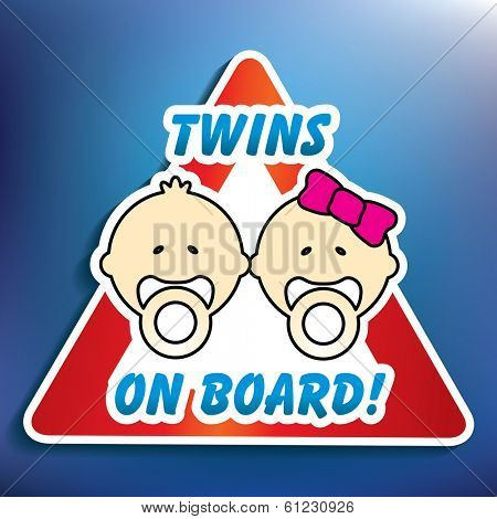 Twins on board sticker - vector illustration