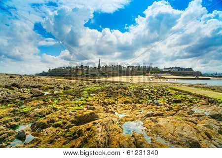 Saint Malo Beach Rocks In Low Tide. Brittany, France.