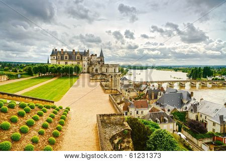 Amboise, Medieval Castle, River And Bridge. Loire Valley, France