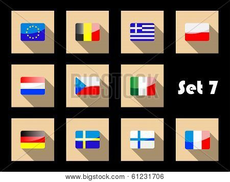 Flat flags icons of european countries