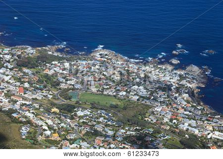 Aerial View Of Camp Bay, Cape Town Coastline In South Africa