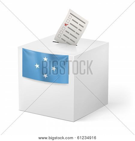 Ballot box with voting paper. Federated States of Micronesia