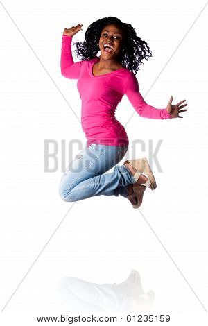 Woman Jumping Of Happiness