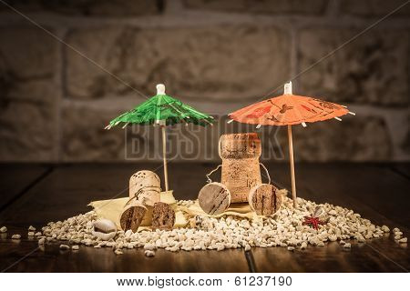 Wine Cork Figures, Concept Sommer Holiday