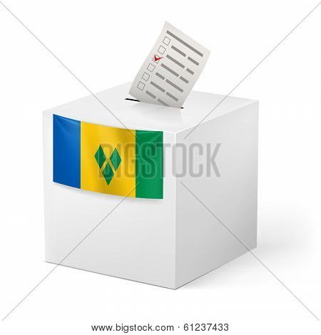 Ballot box with voicing paper. Saint Vincent and the Grenadines