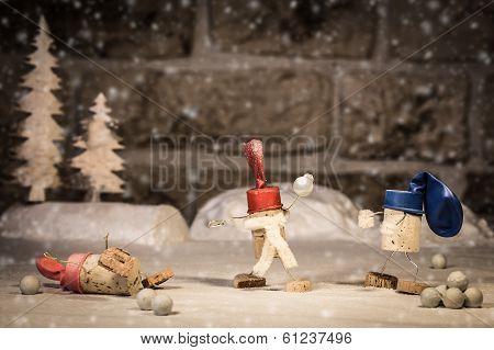 Wine Cork Figures, Concept Children Having Fun In The Snow