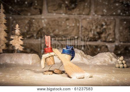 Wine Cork Figures, Concept Two Men Shoveling Snow