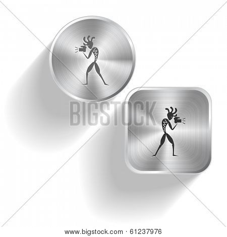 Ethnic little man with camera. Raster set steel buttons