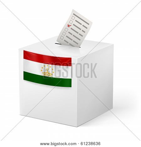 Ballot box with voting paper. Tajikistan
