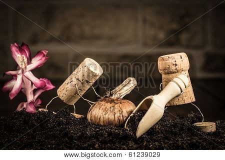 Wine Cork Figures, Concept Agricultur With Two Farmer