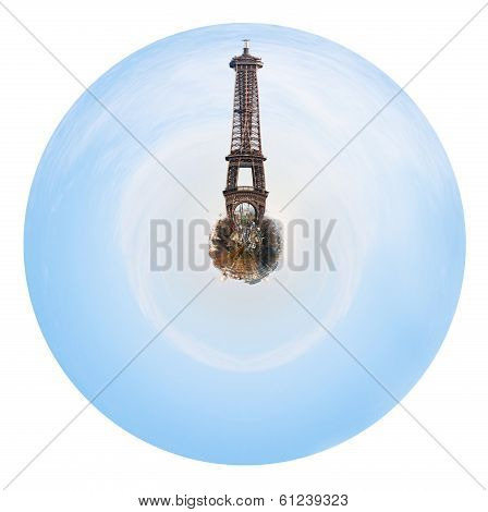 Spherical Cityscape Of Paris With Big Eiffel Tower